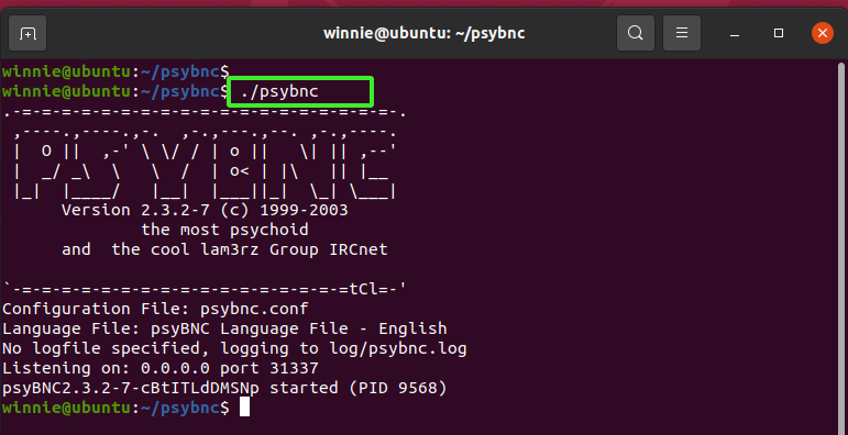 Finally, to run the psyBNC server, run the command: